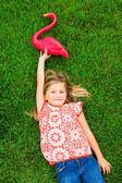 Cute happy little girl smiling outside — Stock Photo