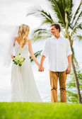 Just married couple holding hands — Stock Photo