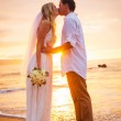 Married couple, bride and groom, kissing at sunset on beautiful — Stock Photo #38633241