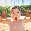 Happy young boy at the beach — Stock Photo #38638393