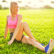 Attractive fit young womstretching — Stock Photo #39662245