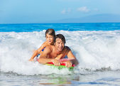 Father and Son Surfing Tandem — Stock Photo