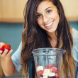 Woman with Fruit smoothie — Stock Photo #41662243