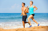 Sporty couple jogging together — Stock Photo