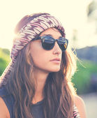 Beautiful hipster girl — Stock Photo