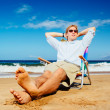 Entrepreneur Relaxing on the Beach — Stock Photo