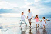 Happy Family have Fun Walking on Beach at Sunset — Stock Photo