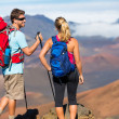 Hikers enjoying the view from the mountain top — Stock Photo #44845145