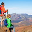 Hikers enjoying the view from the mountain top — Stock Photo #44845355