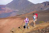 Hikers enjoying walk on amazing mountain trail — Stok fotoğraf
