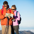 Hikers looking at trail map — Stock Photo #45245253