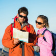 Hikers looking at trail map — Stock Photo #45245265