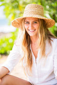 Smiling woman outdoors — Stock Photo
