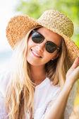 Woman in sun hat — Stock Photo
