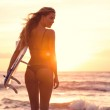 Silhouette surfer girl — Stock Photo #46242391