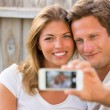 Couple taking selfie with phone — Stock Photo