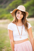 Woman outdoors in sun hat. — Stock Photo