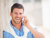 Entrepreneur talking on cell phone — Stock Photo