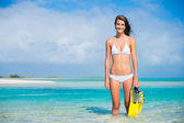 Woman on Tropical Island with Snorkel Gear — Stockfoto