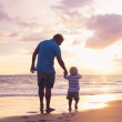 Father and son wallking on the beach — Stock Photo #50121967