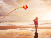 Young boy playing with kite — Stock Photo