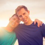 Gay couple on the beach — Stock Photo #50498849