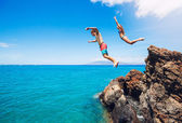 Cliff jumping — Stock Photo