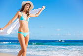 Beautiful Young Woman on the Beach — Stock Photo