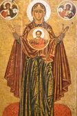 MOTHER OF GOD-GREAT PANAGIA.ORIGINAL.18TH CENTURY. — Stock Photo