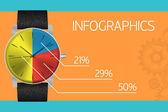 Infographics template - vintage watch — Stock Vector