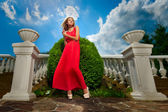 Woman in a red dress — Fotografia Stock