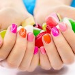 Multicolored and bright manicure - Stok fotoğraf