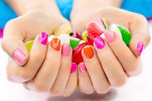 Multicolored and bright manicure — Stock Photo