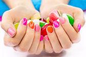 Multicolored and bright manicure — Stock Photo
