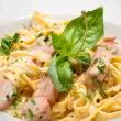 Pasta with salmon — Stock Photo