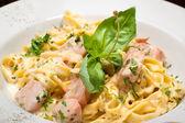 Pasta with salmon — Stock Photo