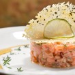 Delicious salmon tartar - Stock Photo