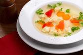Soup with ravioli — Стоковое фото