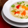 Soup with ravioli - Stock Photo
