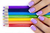 Manos con lápices — Foto de Stock