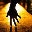 Hand in dark — Stock Photo