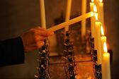 Svíčka rozsvícením — Stock fotografie