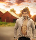 Masculine man outdoors — Stock Photo