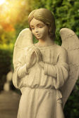 Statue of angel praying in a garden — Stock Photo