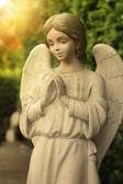Statue von engel betend in einem garten — Stockfoto
