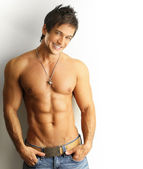 Smiling sexy male — Stock Photo