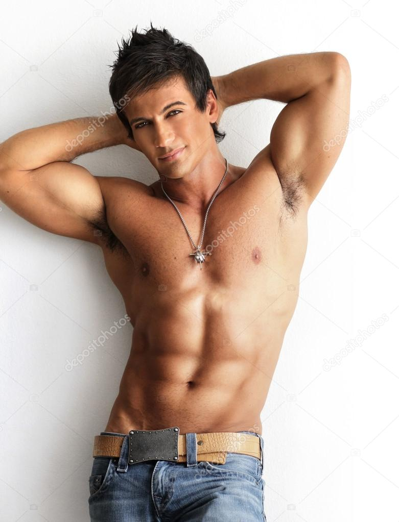 Male model shirtless - Stock Image