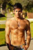 Shirtless guy outside — Stock Photo