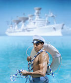 Sexy sailor guy — Stock Photo