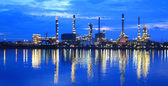 Refinery plant area at twilight panorama — Stock Photo